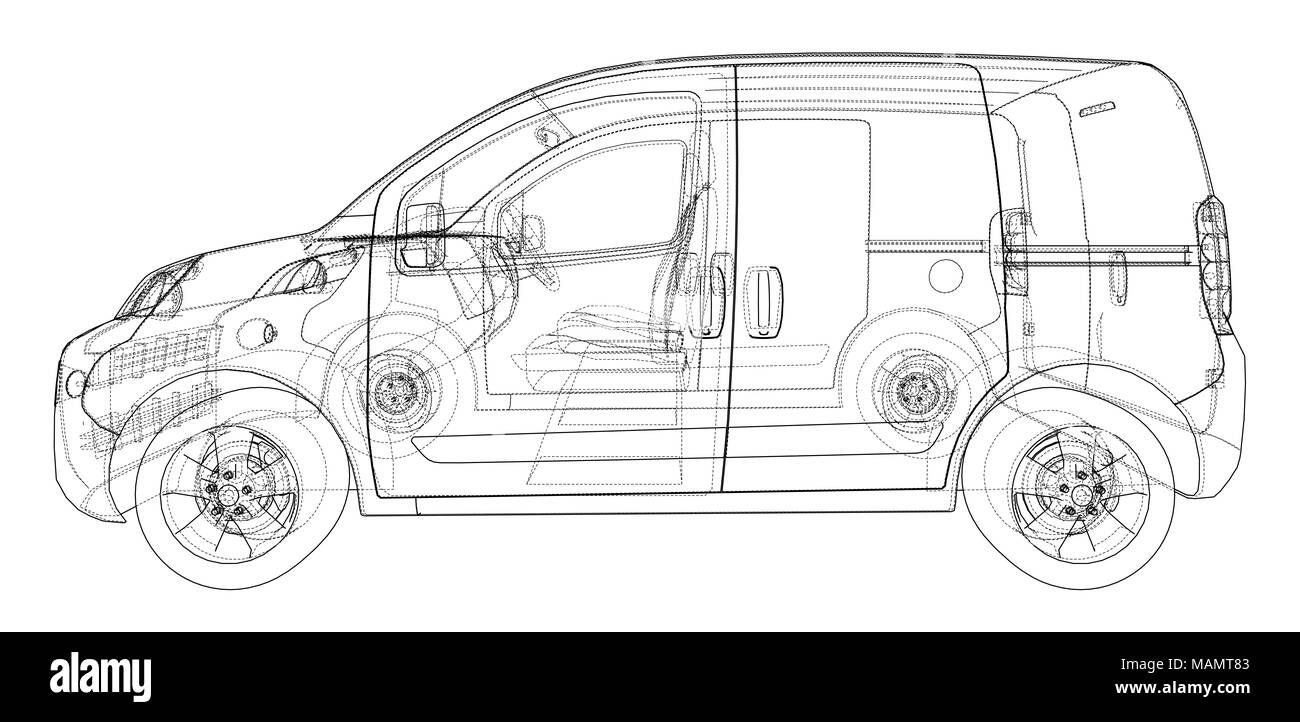 Concept car blueprint. 3d illustration. Wire-frame style Stock Photo ...
