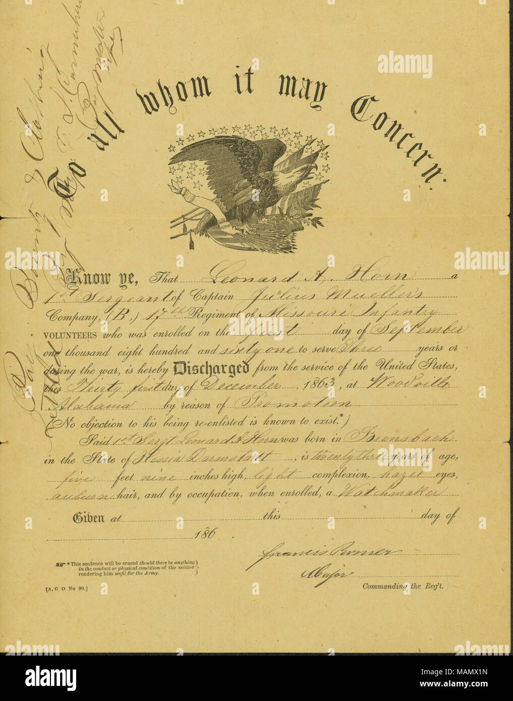 Discharges Horn As 1st Sergeant Of Company B 17th Missouri Infantry
