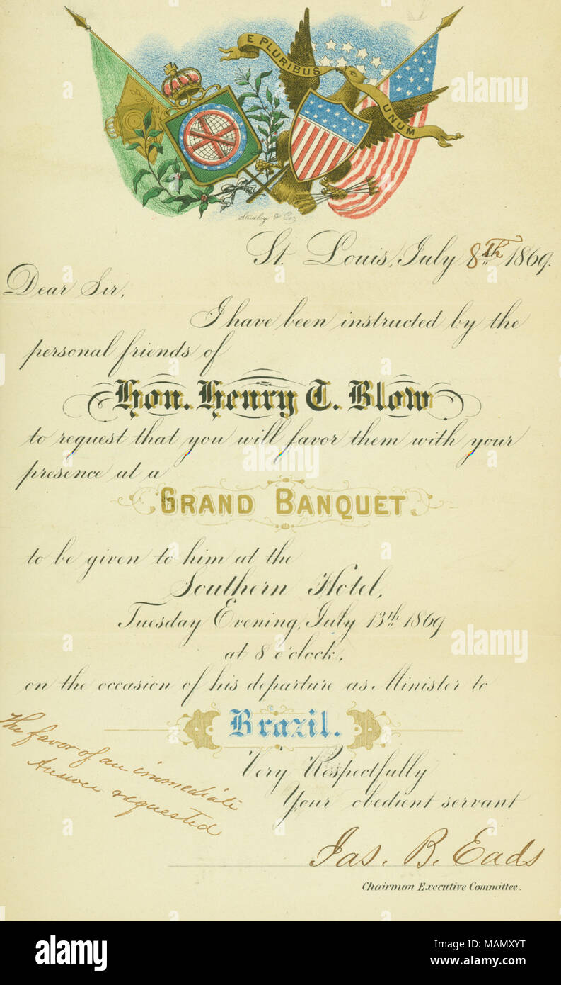 Grand banquet stock photos grand banquet stock images alamy invitation to a grand banquet in honor of henry t blow given at the southern stopboris Images