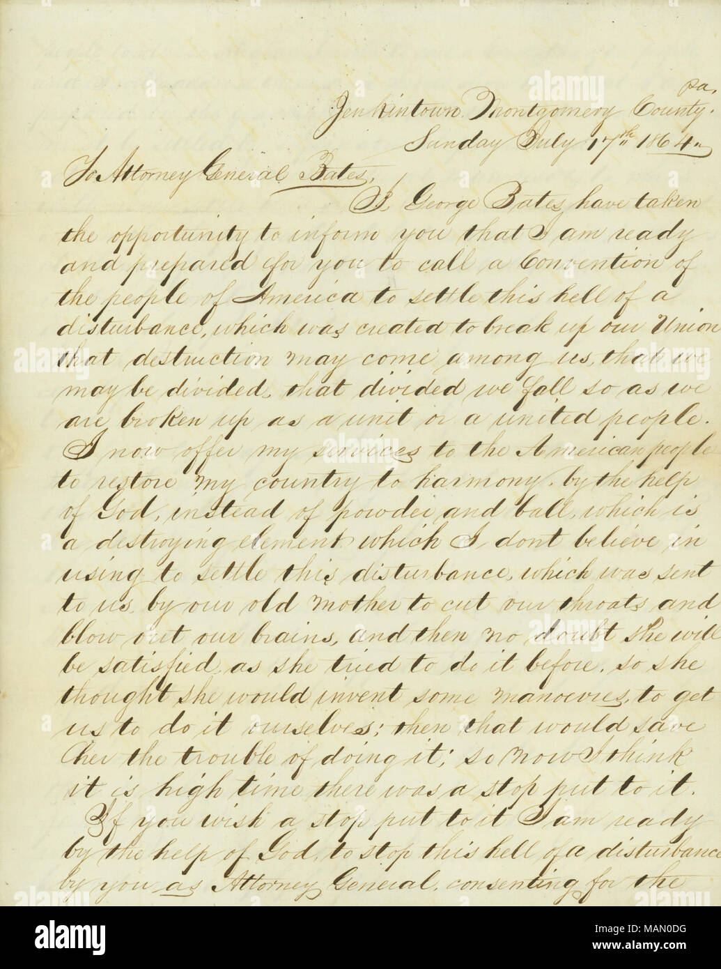 Requests that Edward Bates call a convention of the people of America to 'settle this hell of a disturbance, which was created to break up our Union.' Title: Letter signed George Bates, Jenkintown, Montgomery County, Pa., to Attorney General Bates [Edward Bates], July 17, 1864  . 17 July 1864. Bates, George - Stock Image