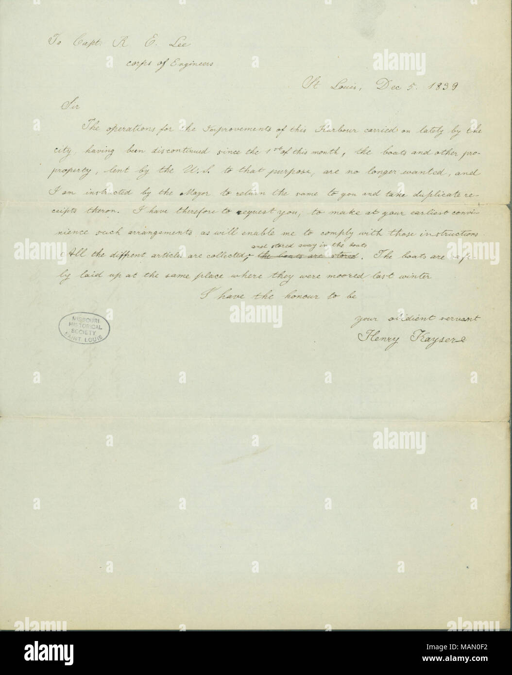 Notifies him that the boats lent by the U. S. government are no longer needed and will be returned to Lee. Title: Letter signed Henry Kayser to Robert E. Lee, December 5, 1839  . 5 December 1839. Kayser, Henry, 1811-1884 - Stock Image