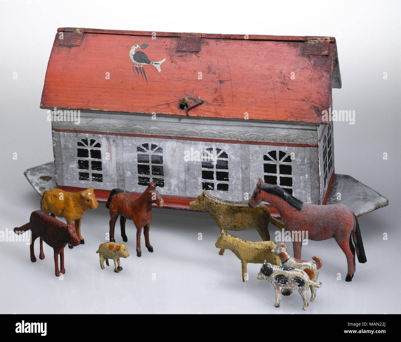 Wooden Toy Noahs Ark With Carved Wooden Animals Made In Germany
