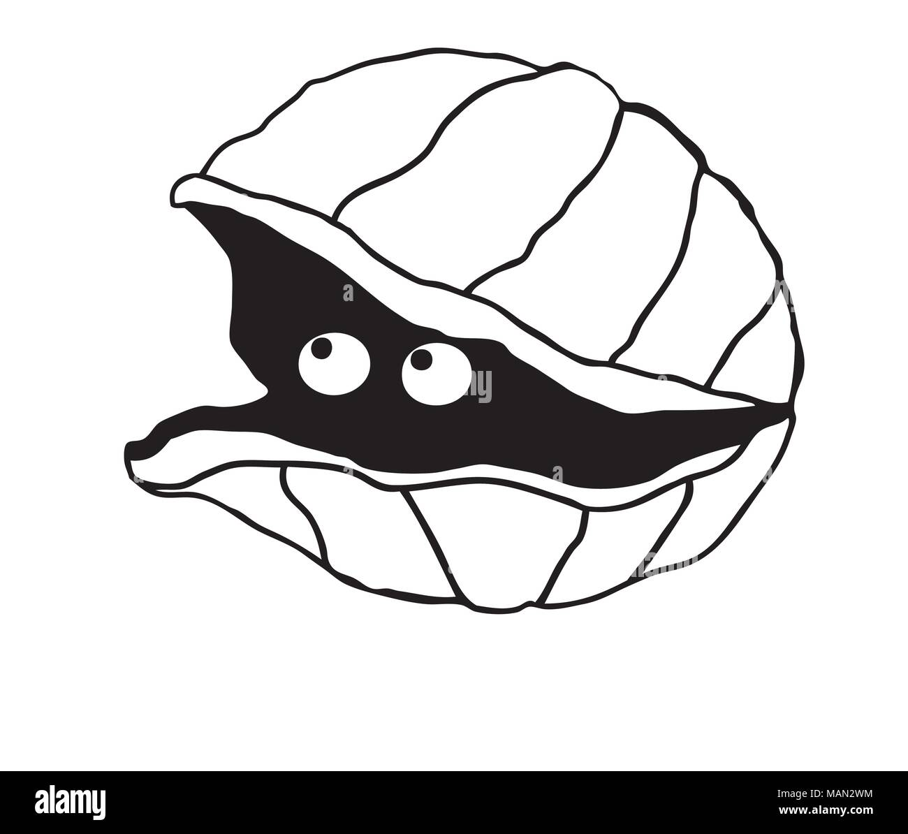 Cute illustration of a simple clam with eyes look out of ...