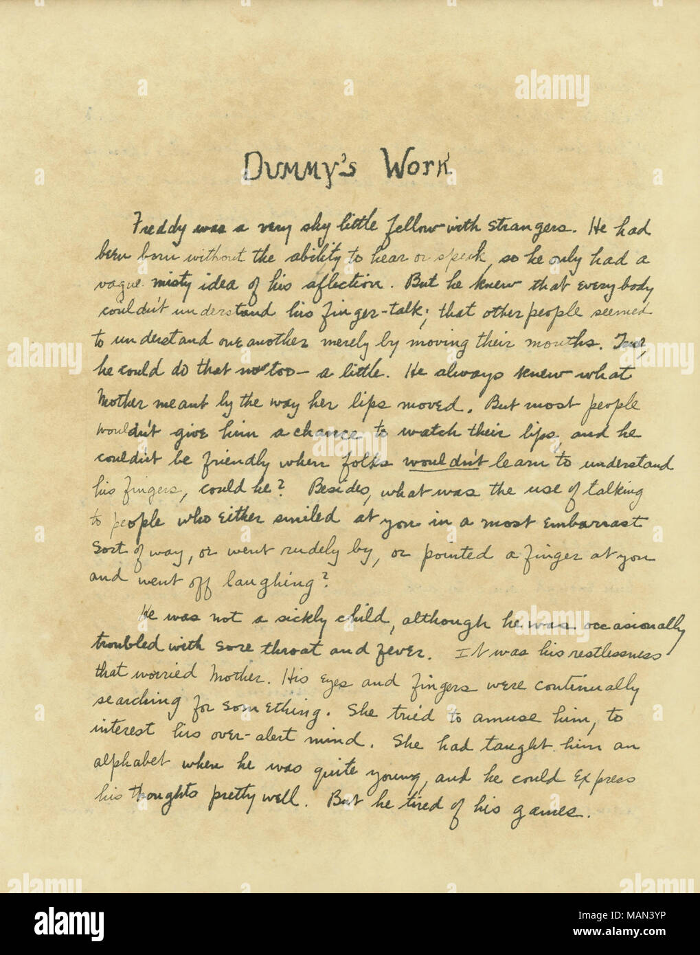 Dummy's Work,' short story by Edna Wahlert, page one  Title:The