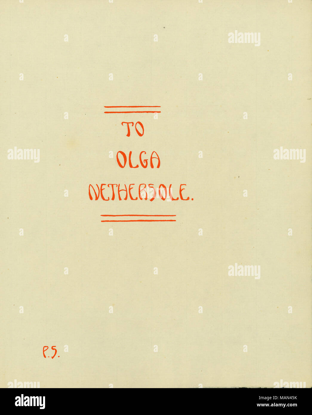 Dedication page to Olga Nethersole. Title:The Potter's Wheel, Volume 3, Number 7, page 4, May 1907  . May 1907. Sombart, Petronelle, 1888- - Stock Image