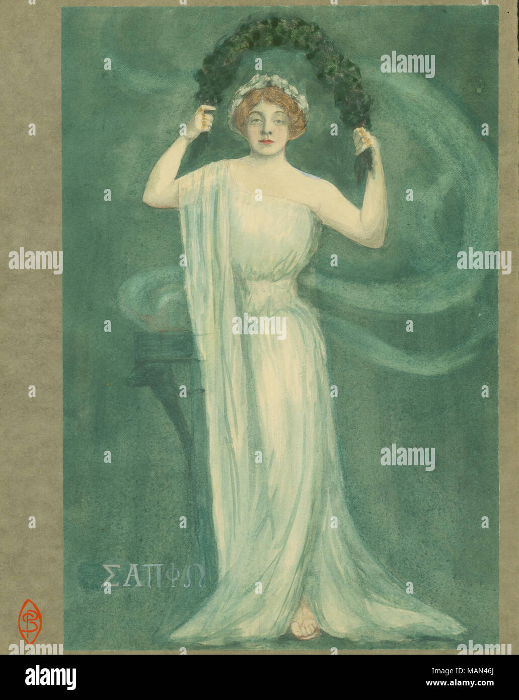 Watercolor design for a poster of actress Olga Nethersole appearing as Sappho by Petronelle Sombart. Title:The Potter's Wheel, Volume 3, Number 7, page 9, May 1907  . May 1907. Sombart, Petronelle, 1888- - Stock Image