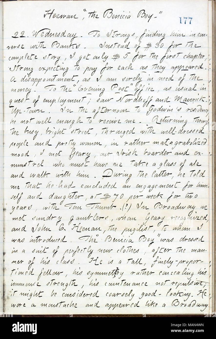 Describes meeting John C. Heenan. Title: Thomas Butler Gunn Diaries: Volume 16, page 199, May 22, 1861  . 22 May 1861. Gunn, Thomas Butler, 1826-1903 - Stock Image