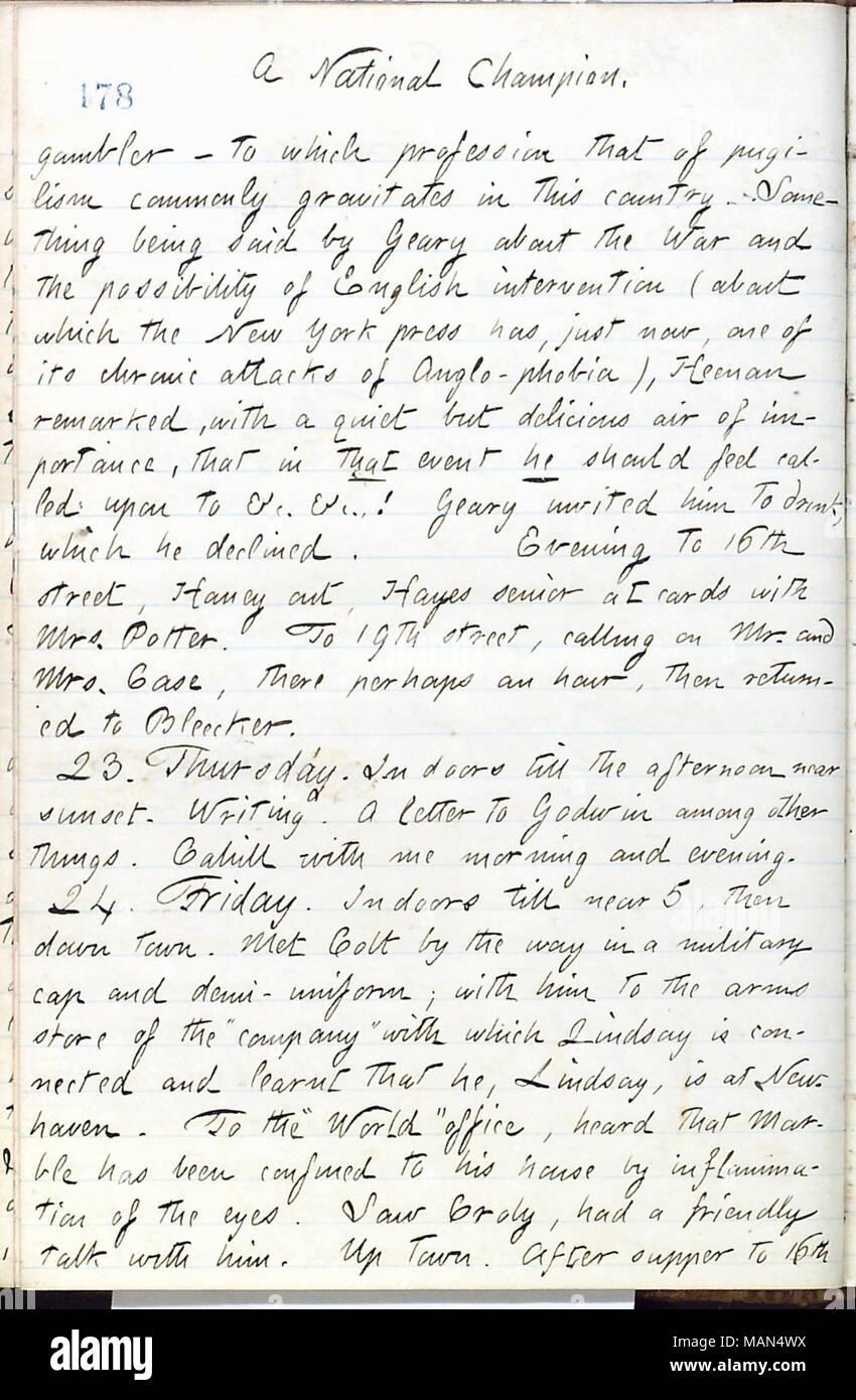 Describes meeting John C. Heenan. Title: Thomas Butler Gunn Diaries: Volume 16, page 200, May 22, 1861  . 22 May 1861. Gunn, Thomas Butler, 1826-1903 - Stock Image