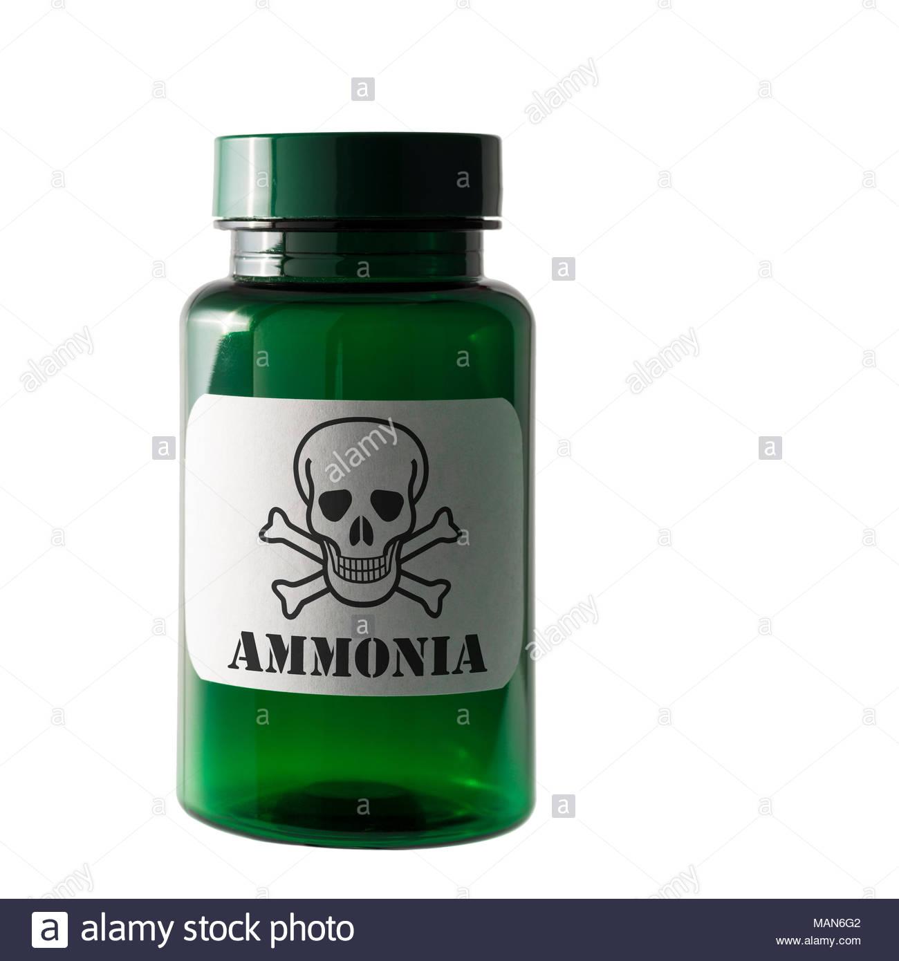 Ammonia. Dangerous substance label, Dorset, England, UK - Stock Image
