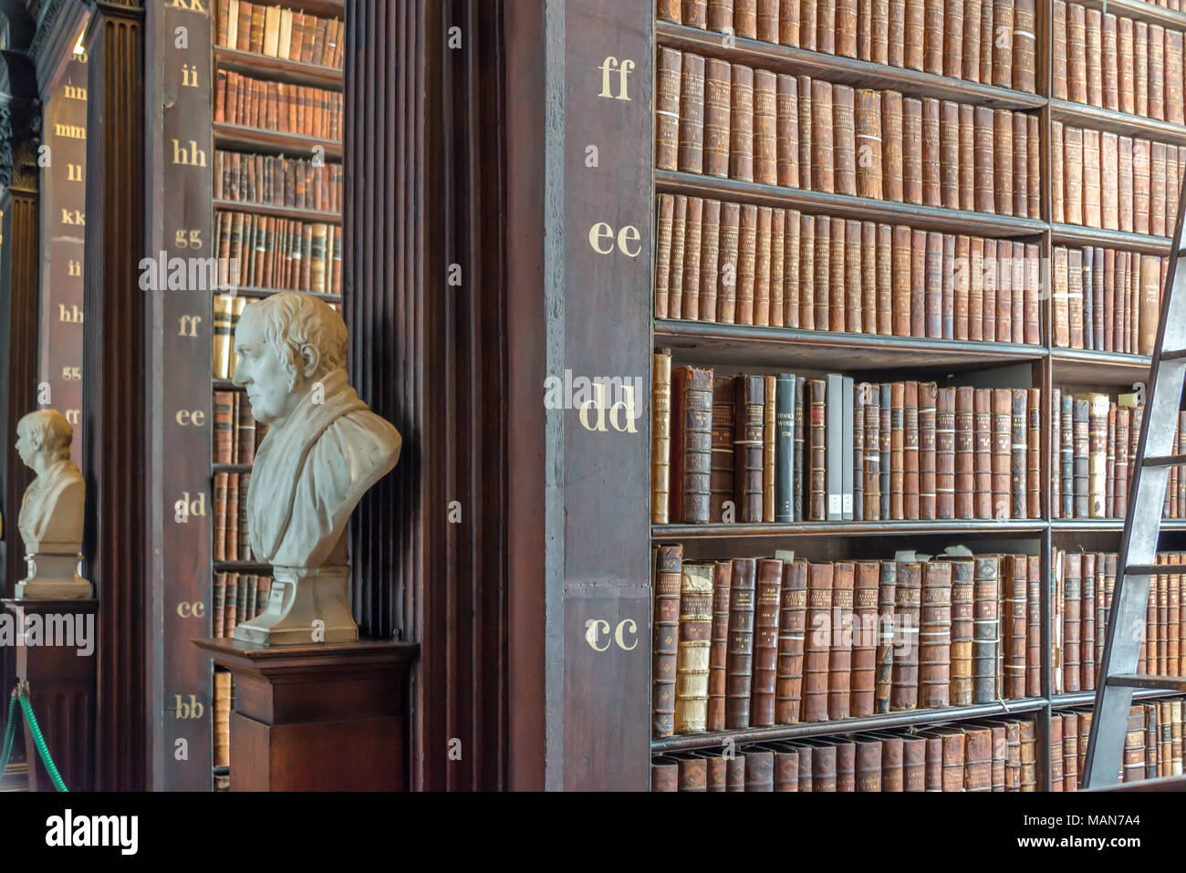 Statues And Bookshelves In The Long Room In The Trinity College Old Library  In Dublin, Ireland