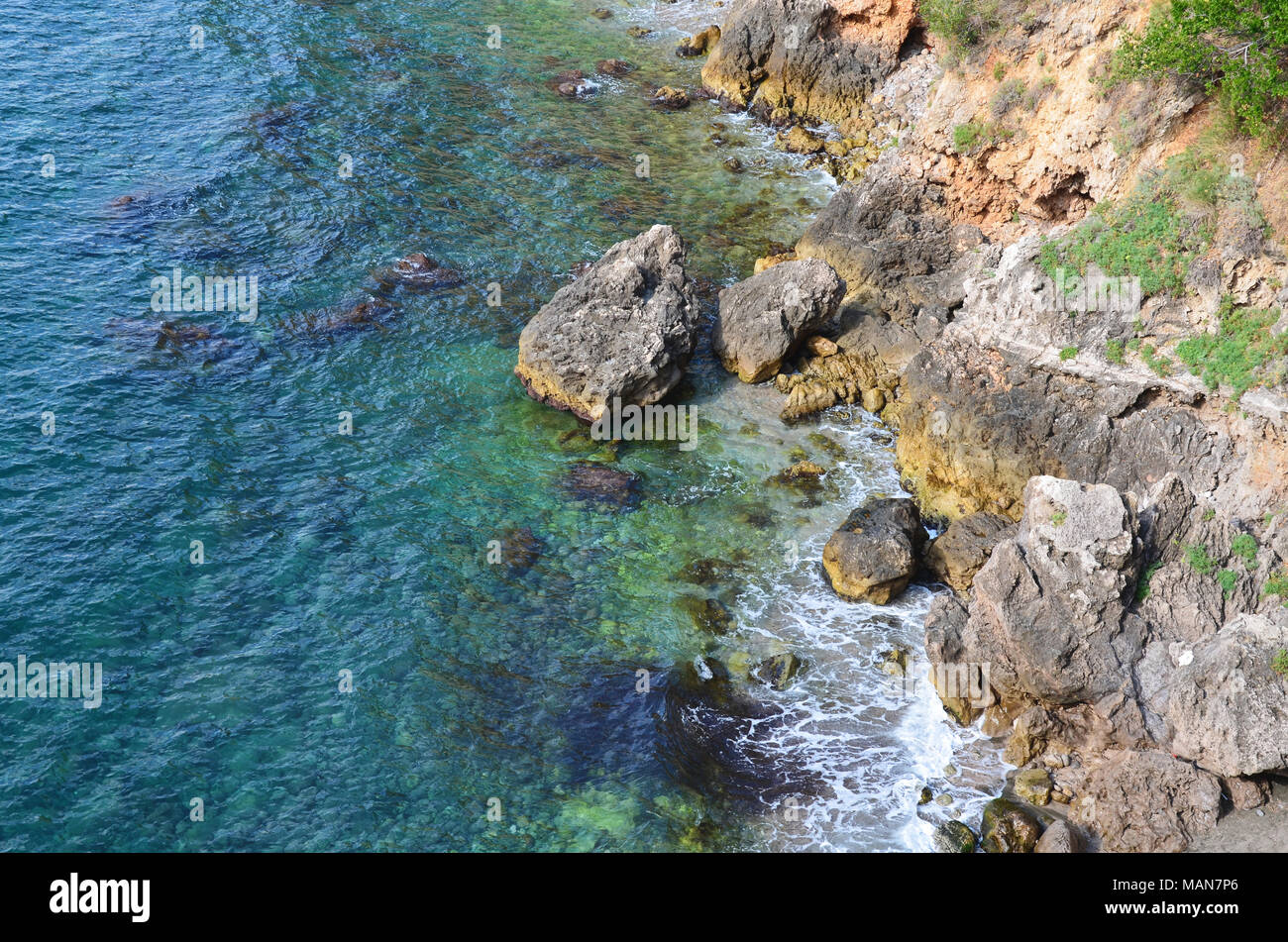 Sea Coast RockHigh Angle View Of Rock Formations In Sea. Background. - Stock Image
