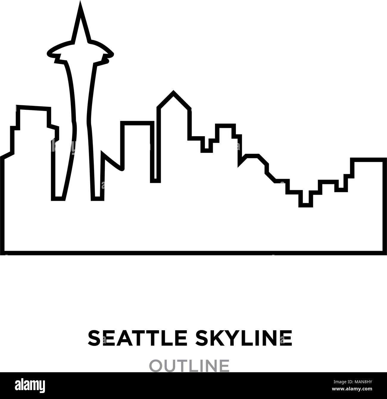 Seattle Skyline Outline On White Background, Vector