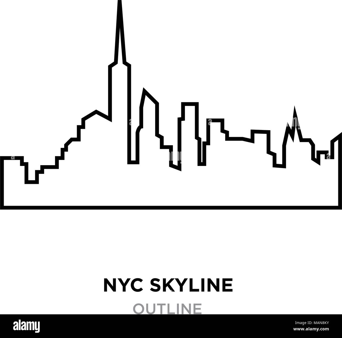 Nyc Skyline Outline On White Background, Vector