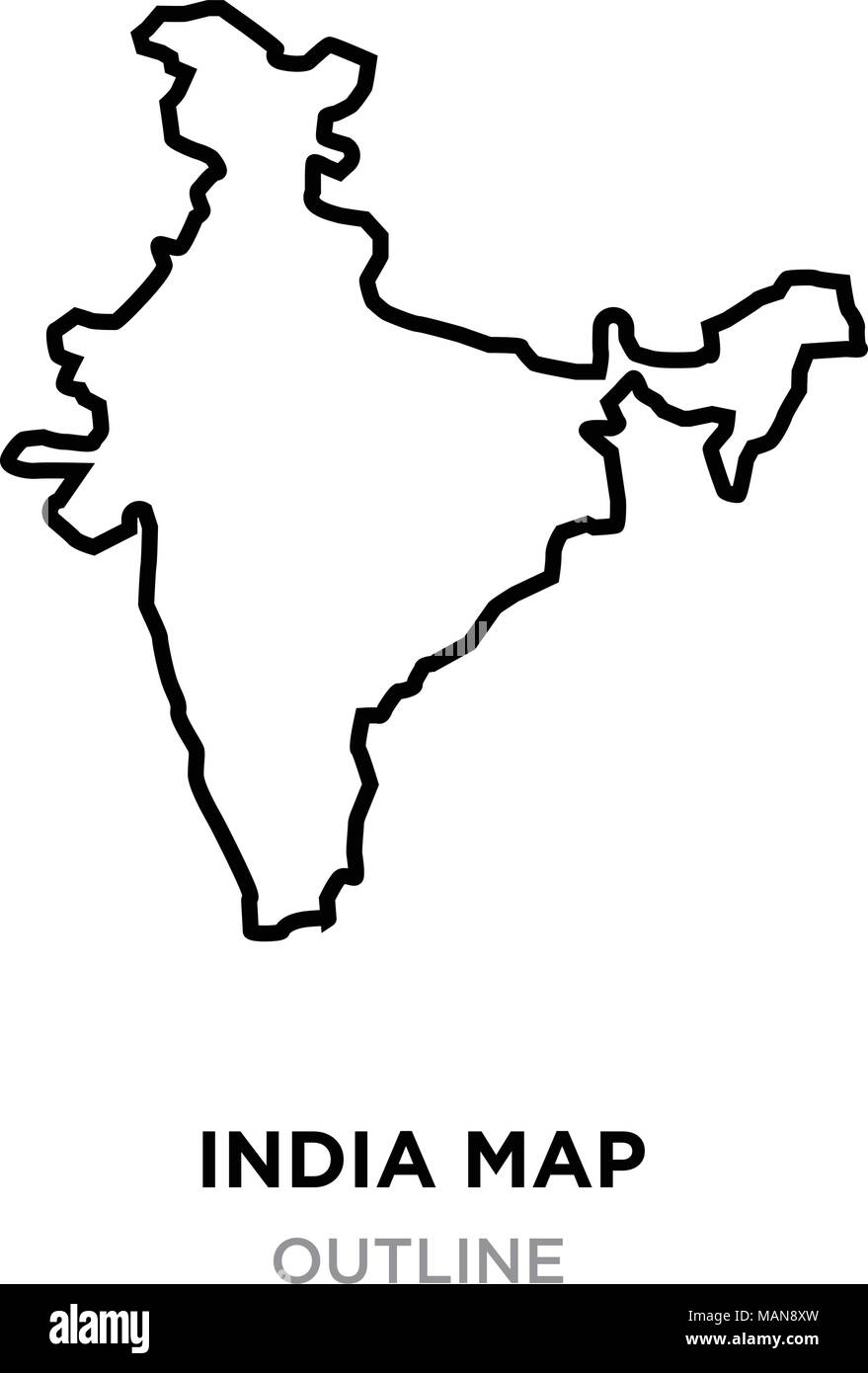 india map outline png on white background, vector