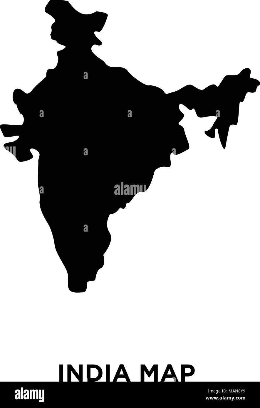 India Map Silhouette Png On White Background, Vector Illustration