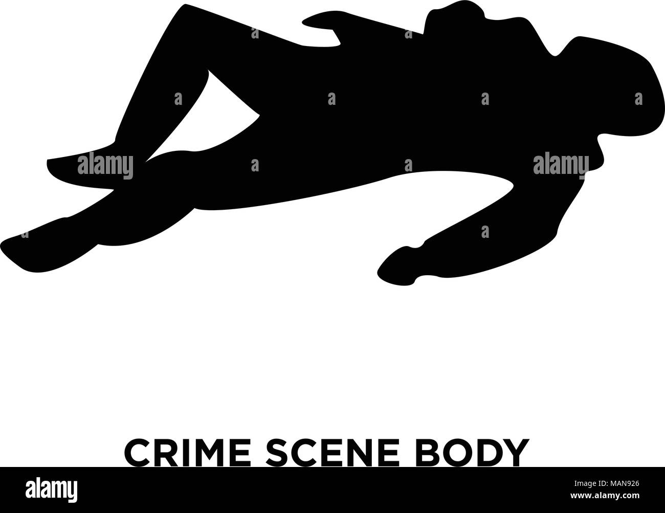 crime scene body silhouette on white background, vector illustration