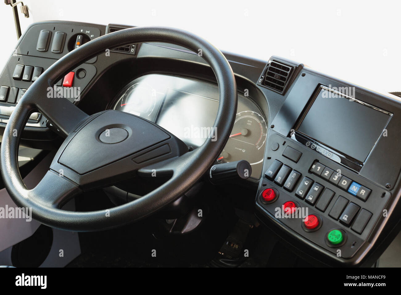 Modern automobile dashboard closeup. Screen multimedia system. - Stock Image