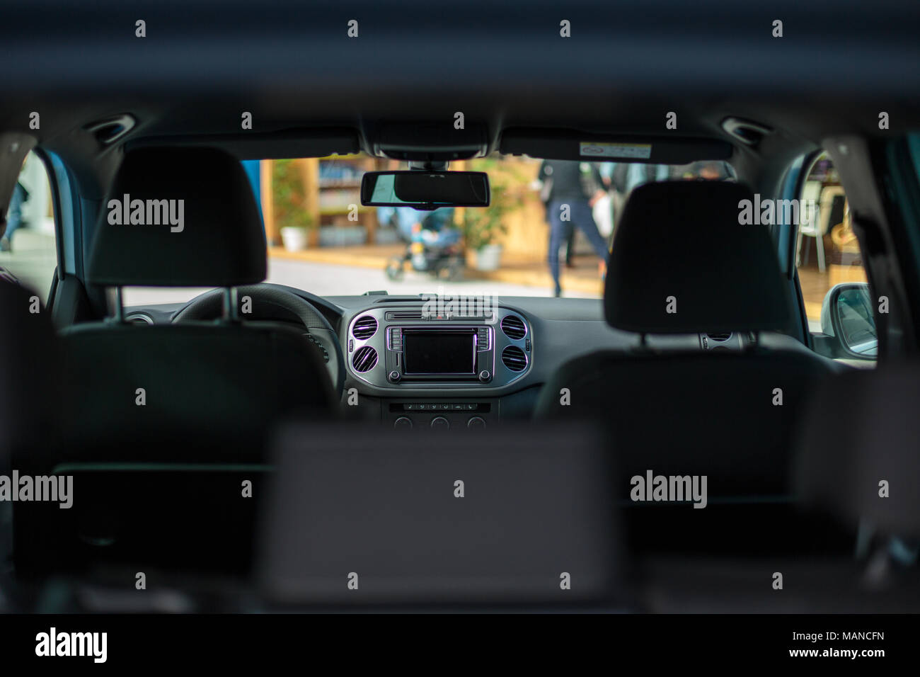 Modern car interior and dashboard. Screen multimedia system. - Stock Image