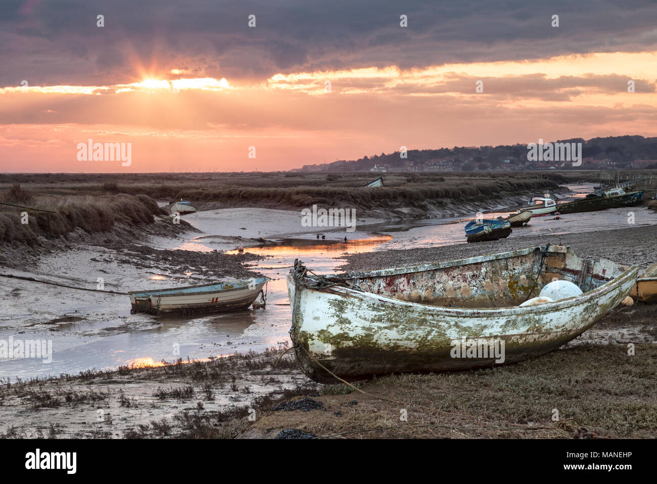 Morston Creek at Sunrise on a low tide, Norfolk Stock Photo