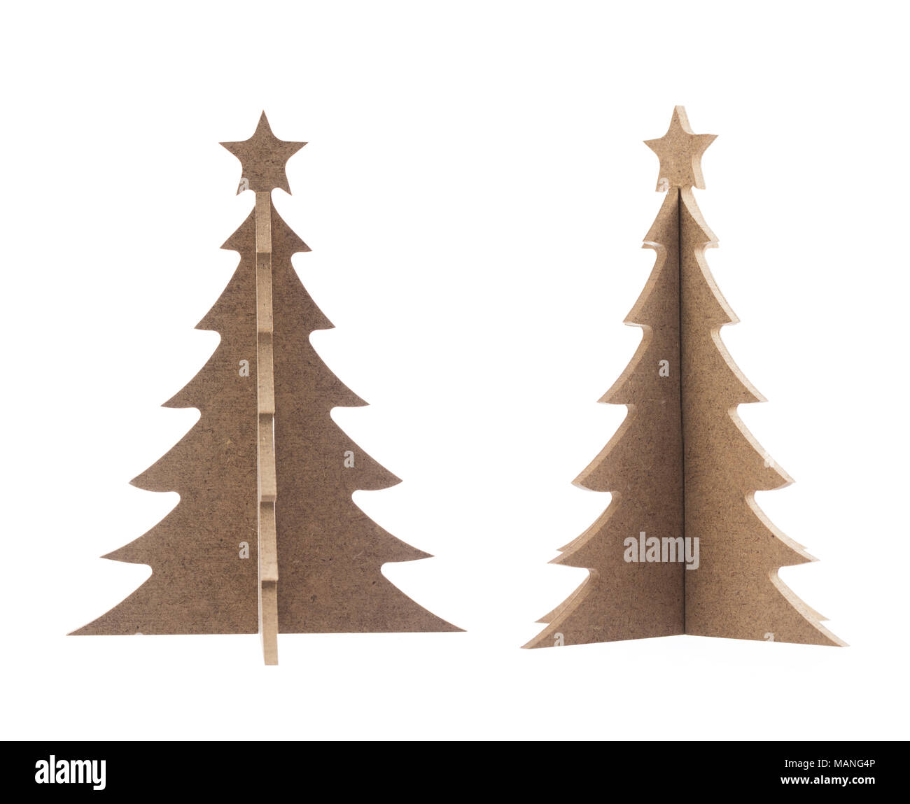 wooden christmas tree with star for decoration isolated on a white background