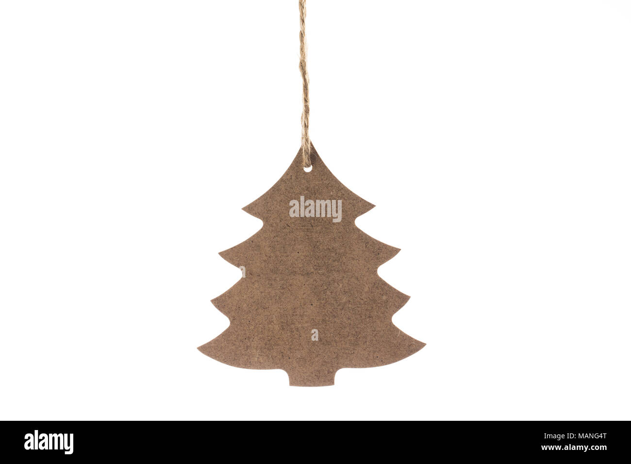 Wooden Christmas tree with star for decoration isolated on a white background Stock Photo