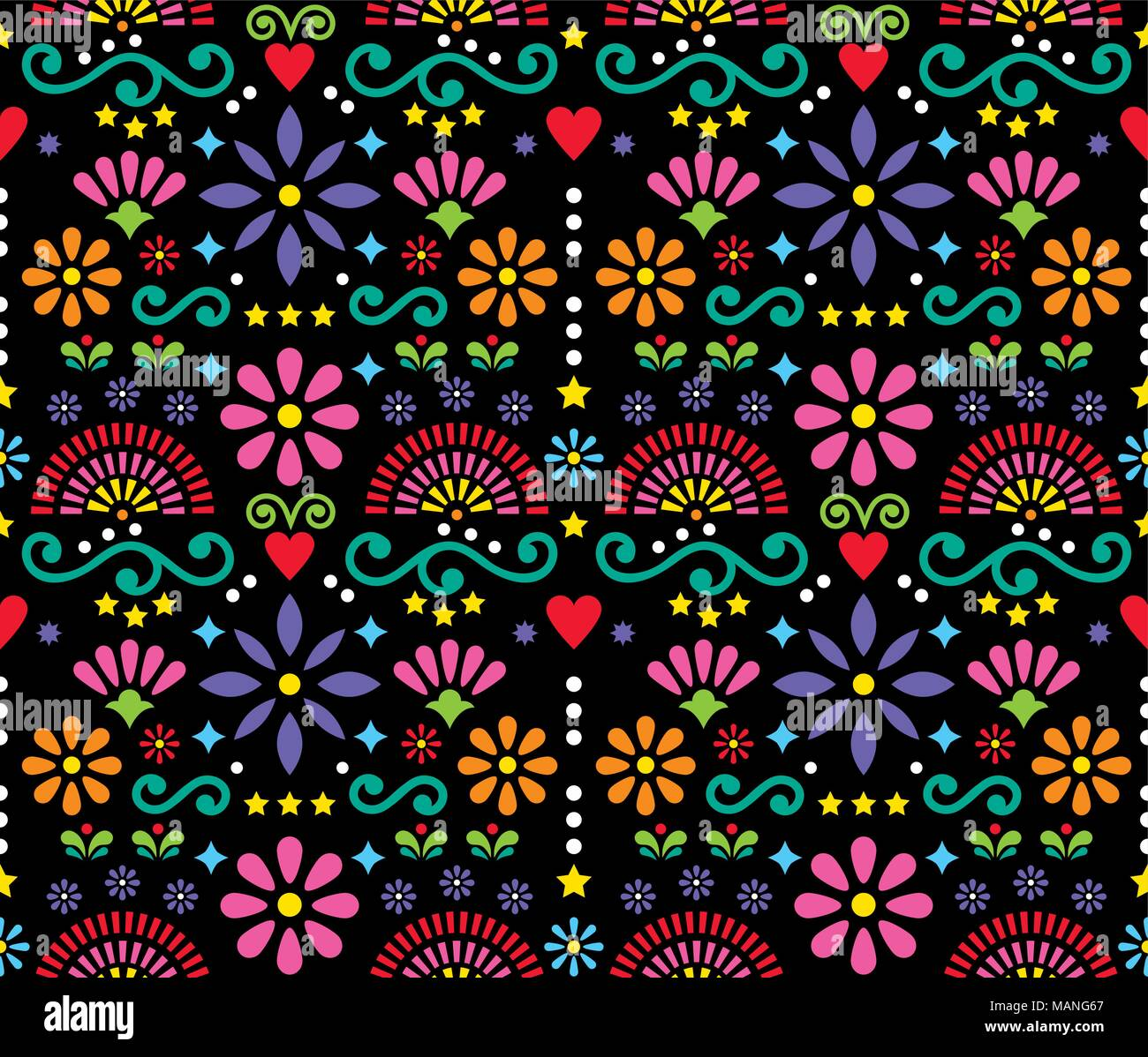 mexican folk art seamless vector pattern, colorful design with
