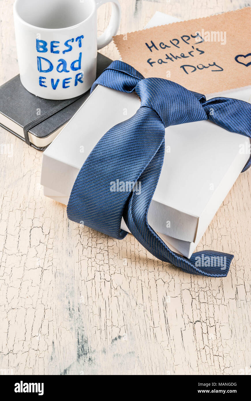 Father S Day Gift Concept Greeting Card Background Gift Box Tie Decoration Mug With Inscription Best Dad Ever Notebook Copy Space Stock Photo Alamy