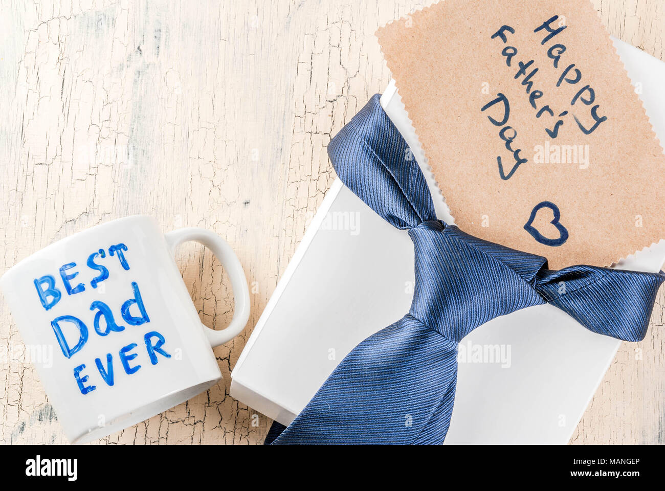 Father S Day Gift Concept Greeting Card Background Gift Box Tie Decoration Mug With Inscription Best Dad Ever Notebook Copy Space Top View Stock Photo Alamy