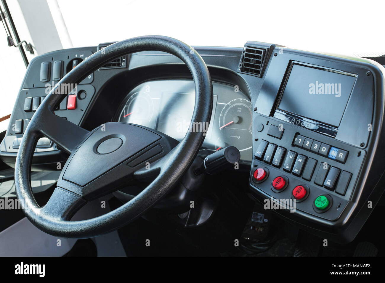 Modern automobile control panel. Dashboard with navigation of an autobus. - Stock Image