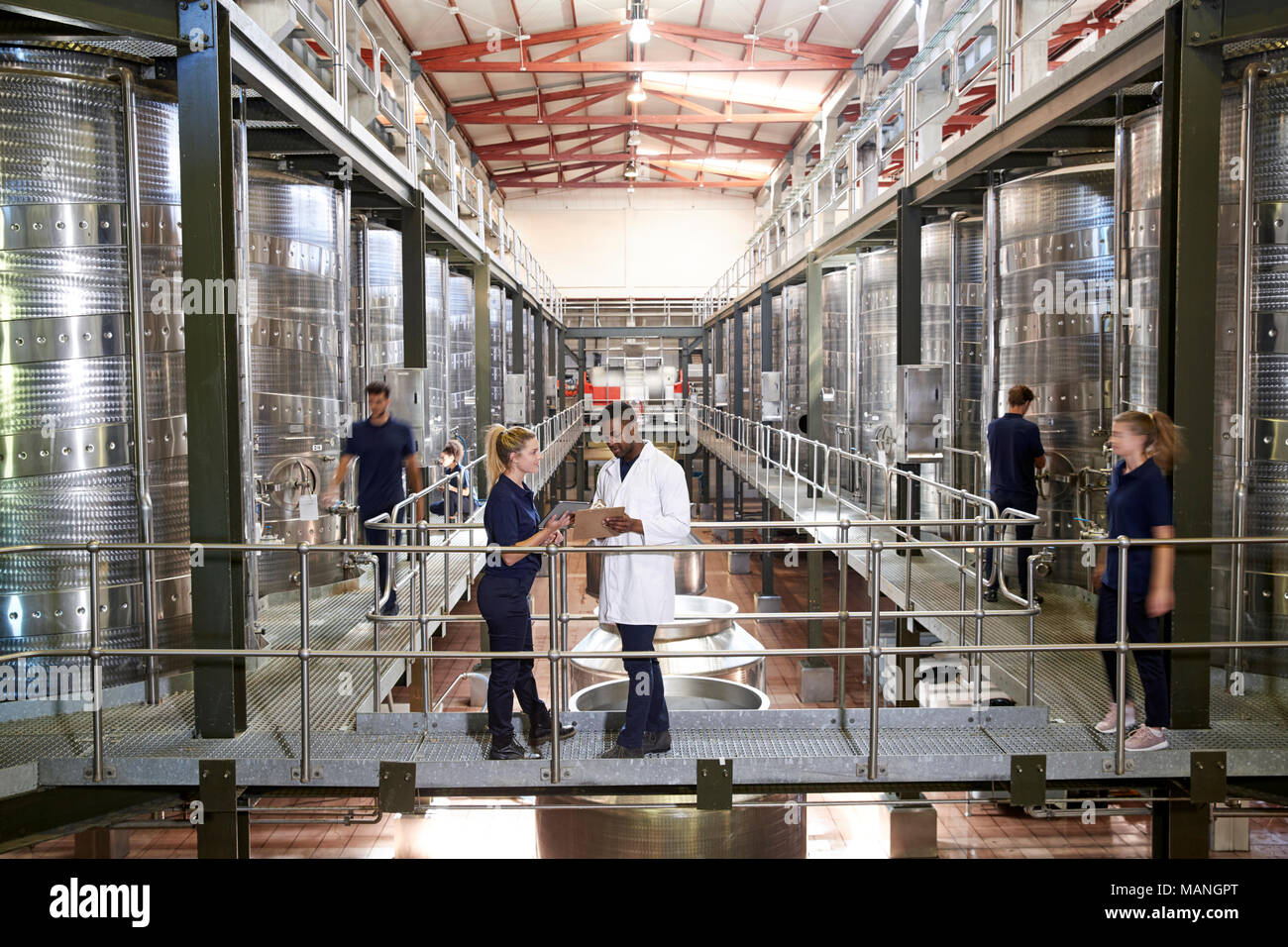 Two staff talking on gangway in a modern winemaking factory - Stock Image
