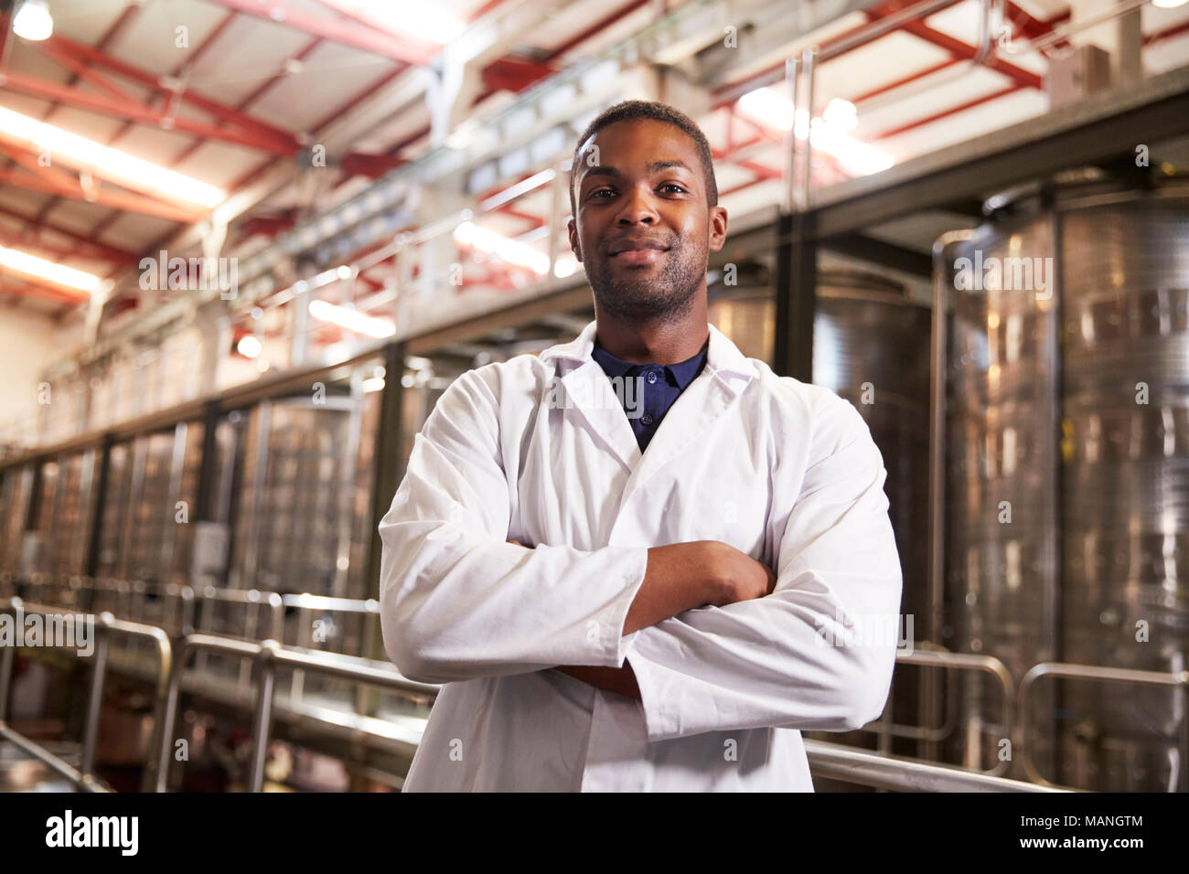 Portrait of a young black male technician at a wine factory Stock Photo