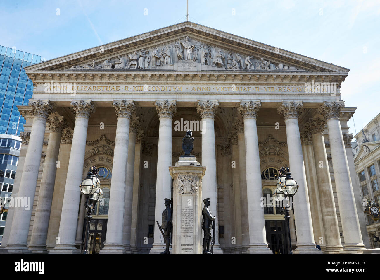 LONDON - MAY, 2017: Western portico of Royal Exchange building, Royal Exchange Square, London, EC3. - Stock Image