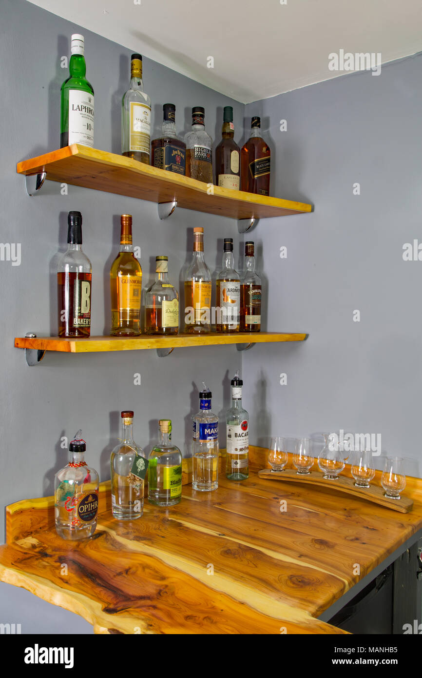 A collection of whisky (Irish spelling - whiskey), gin and Bacardi ...