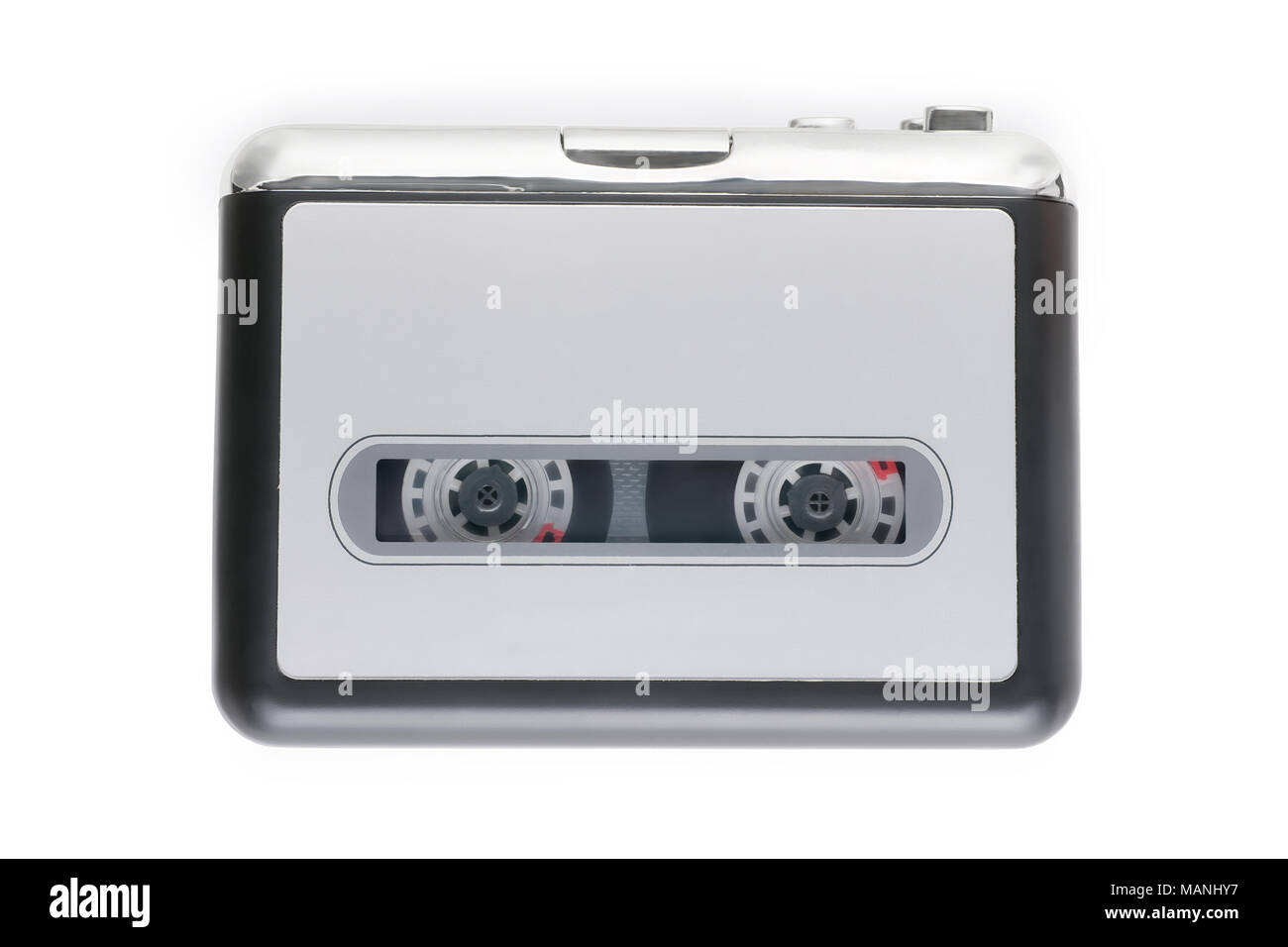 Small cassette player with a tape cassette inside. Isolated on white, clipping path included - Stock Image