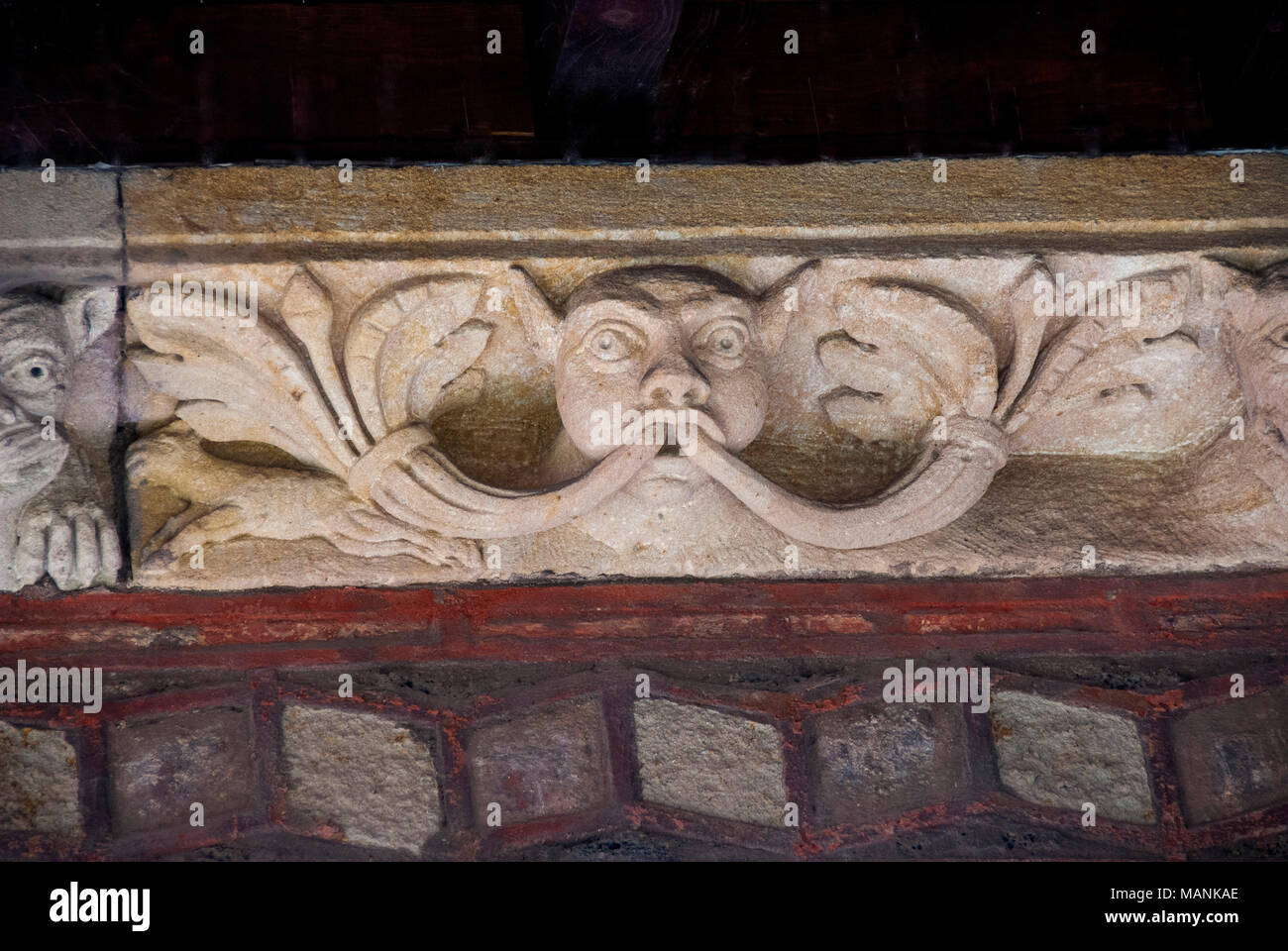 Sculptures. Cloister of cathedral Notre Dame, Le Puy en Velay,  Haute Loire, Auvergne, France, Europe Stock Photo