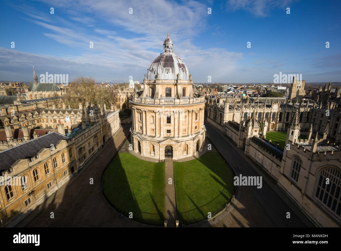 Oxford. England. View of Radcliffe Camera, Radcliffe Square with Brasenose College on the left, and All Souls College, right.   Designed by James Gibb - Stock Image