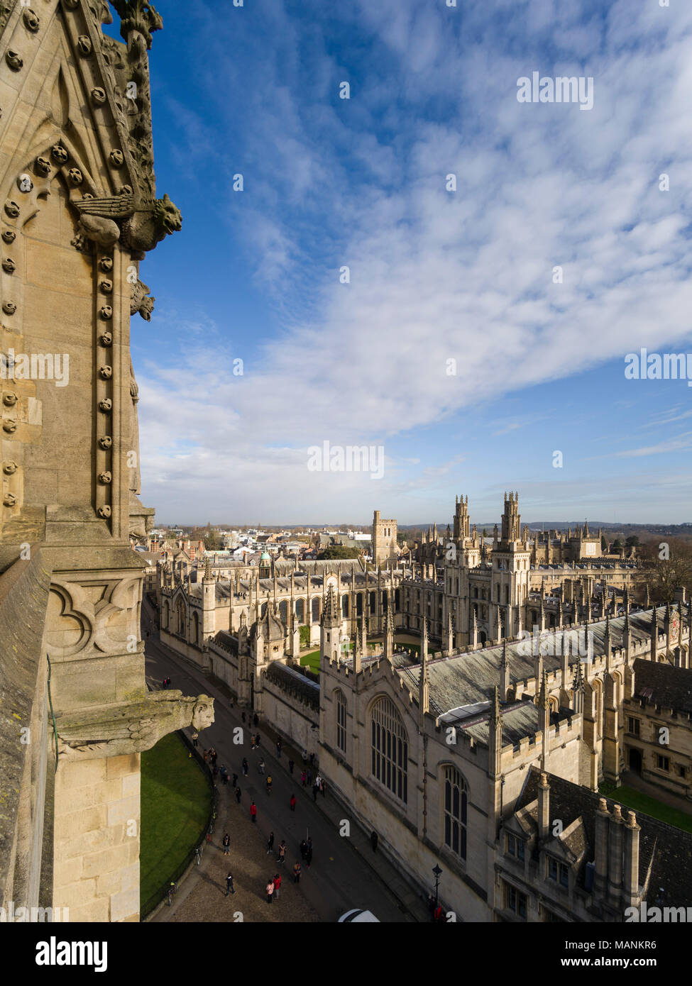 Oxford. England. View of All Souls College from the spire of University Church of St Mary the Virgin. - Stock Image