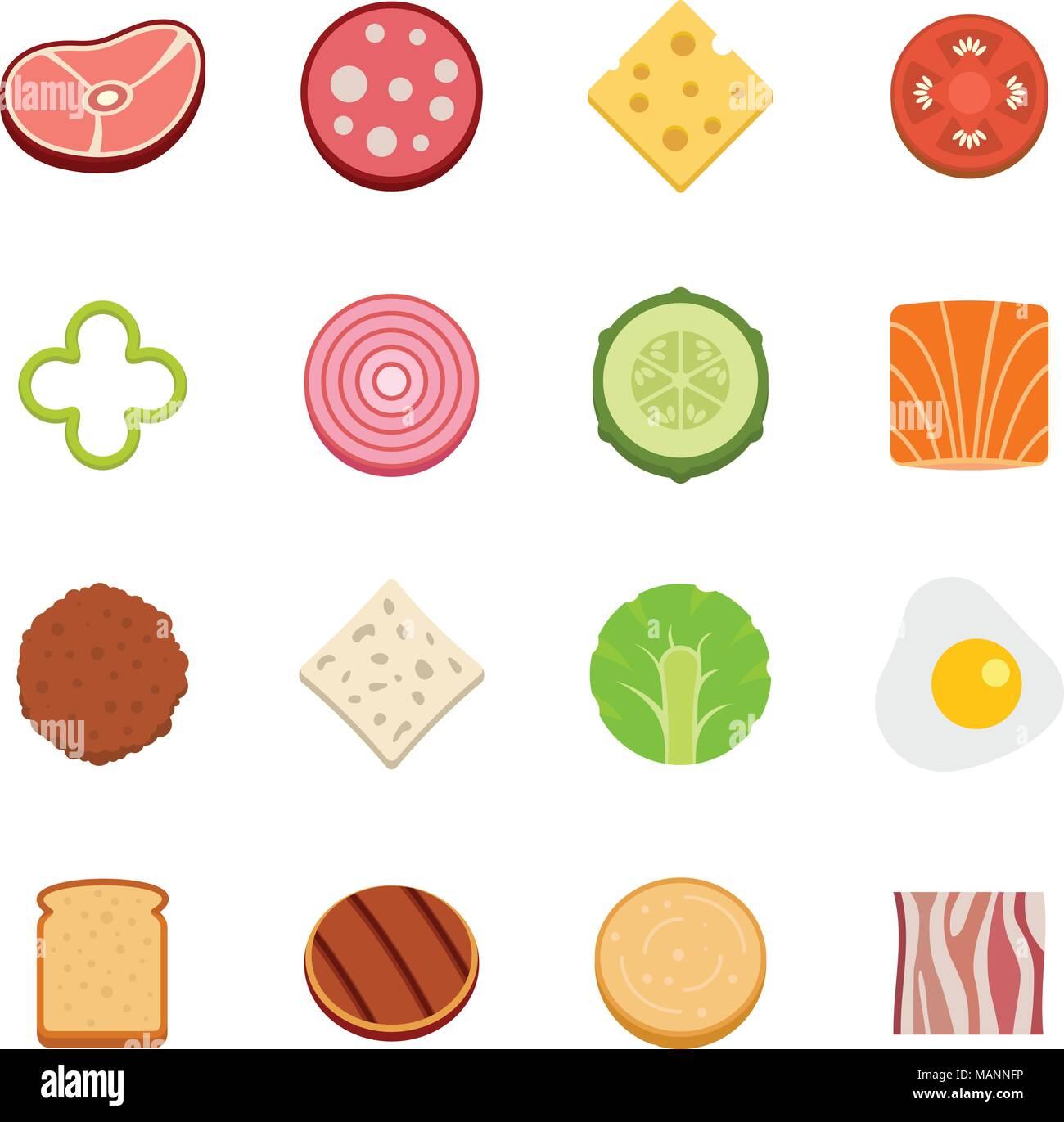 Slice food ingredient icons set vector flat Stock Vector