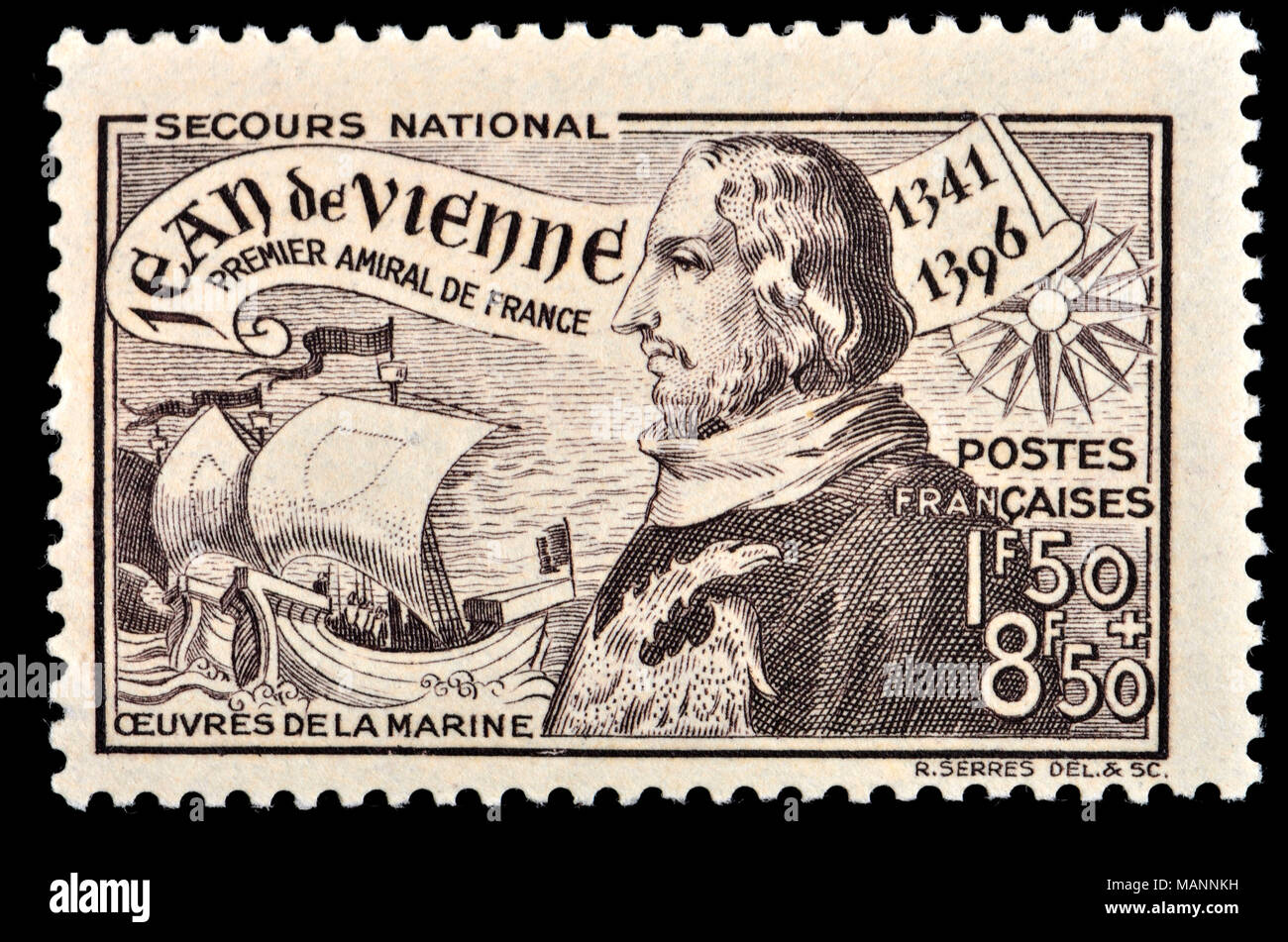 French postage stamp (1941) : Jean de Vienne (1341 – 1396) French knight, general and Admiral of France during the Hundred Years' War. - Stock Image