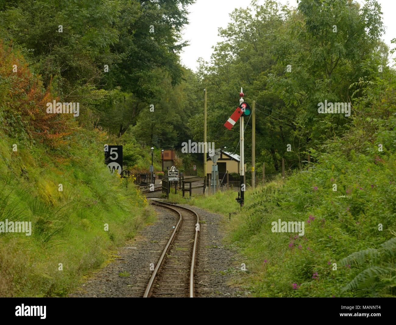 Rheidol Valley Railway, coming out of Aberffrwd Station - Stock Image