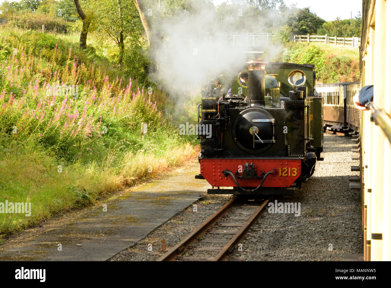 Great Western Locomotive changing ends of the train - Stock Image