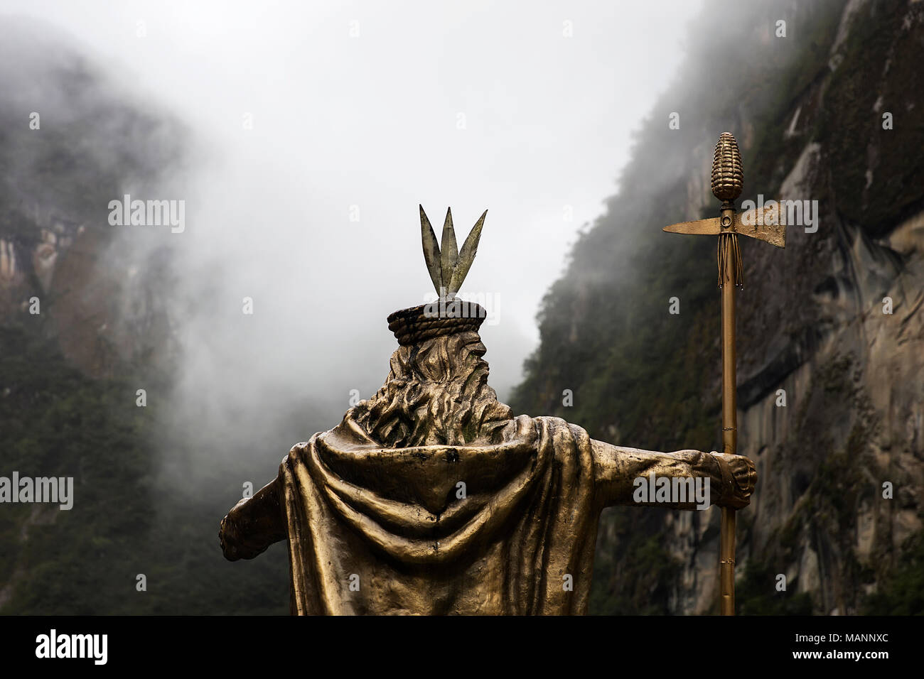 Statue of Pachacuti in Aguas Calientes, Peru. Pachacuti was the 9th Sapa Inca of the Kingdom of Cusco. - Stock Image