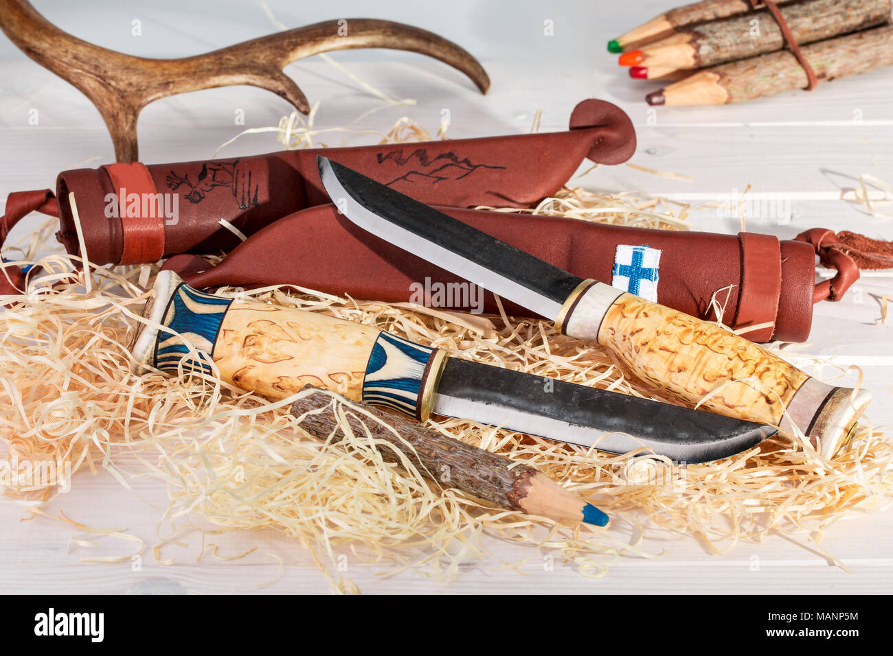 Traditional Finnish Belt Knives (Puukko) With Curving