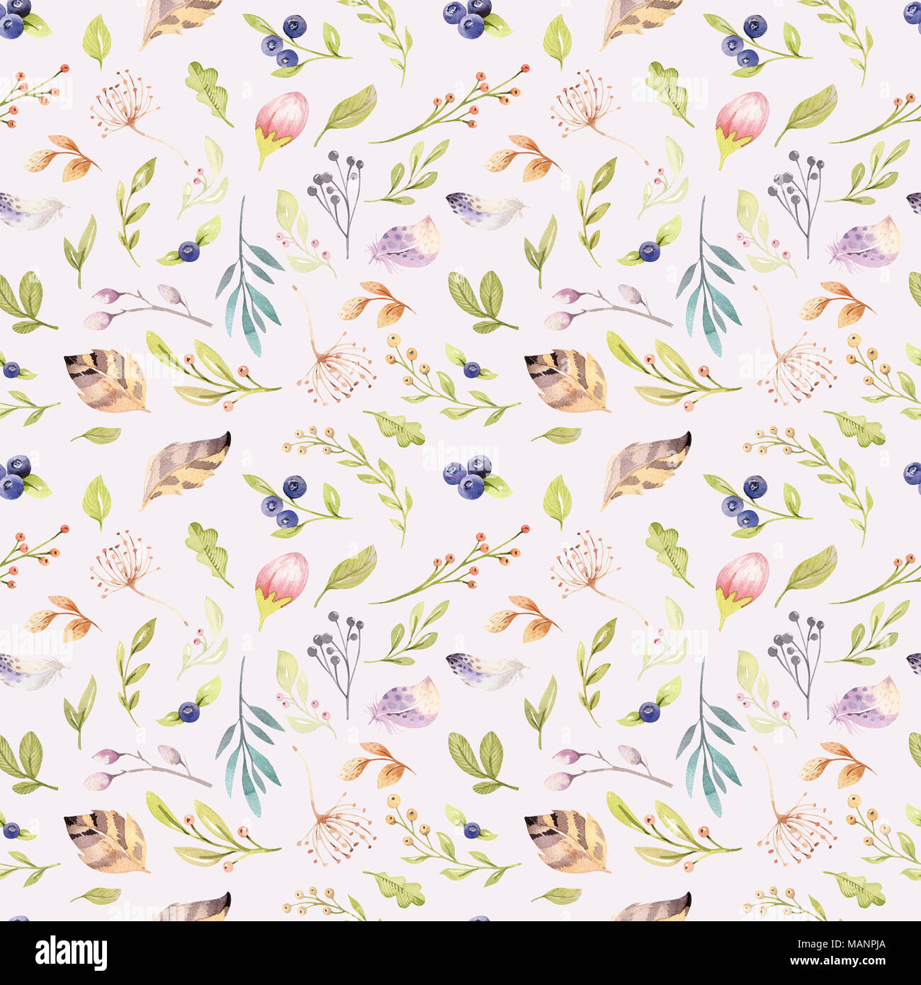 Watercolor Floral Bloom Seamless Pattern In Pastel Colors Background With Bloossom Flower And Leaves Boho Illustration