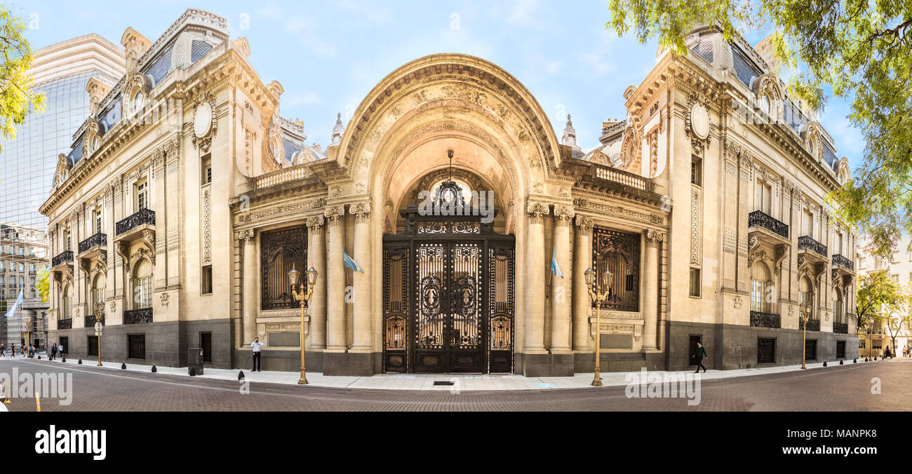 Buenos Aires, Argentina - March 21th, 2018: Panoramic view of the Palacio San Martin, located facing Plaza San Martín in the Retiro neighborhood of B - Stock Image