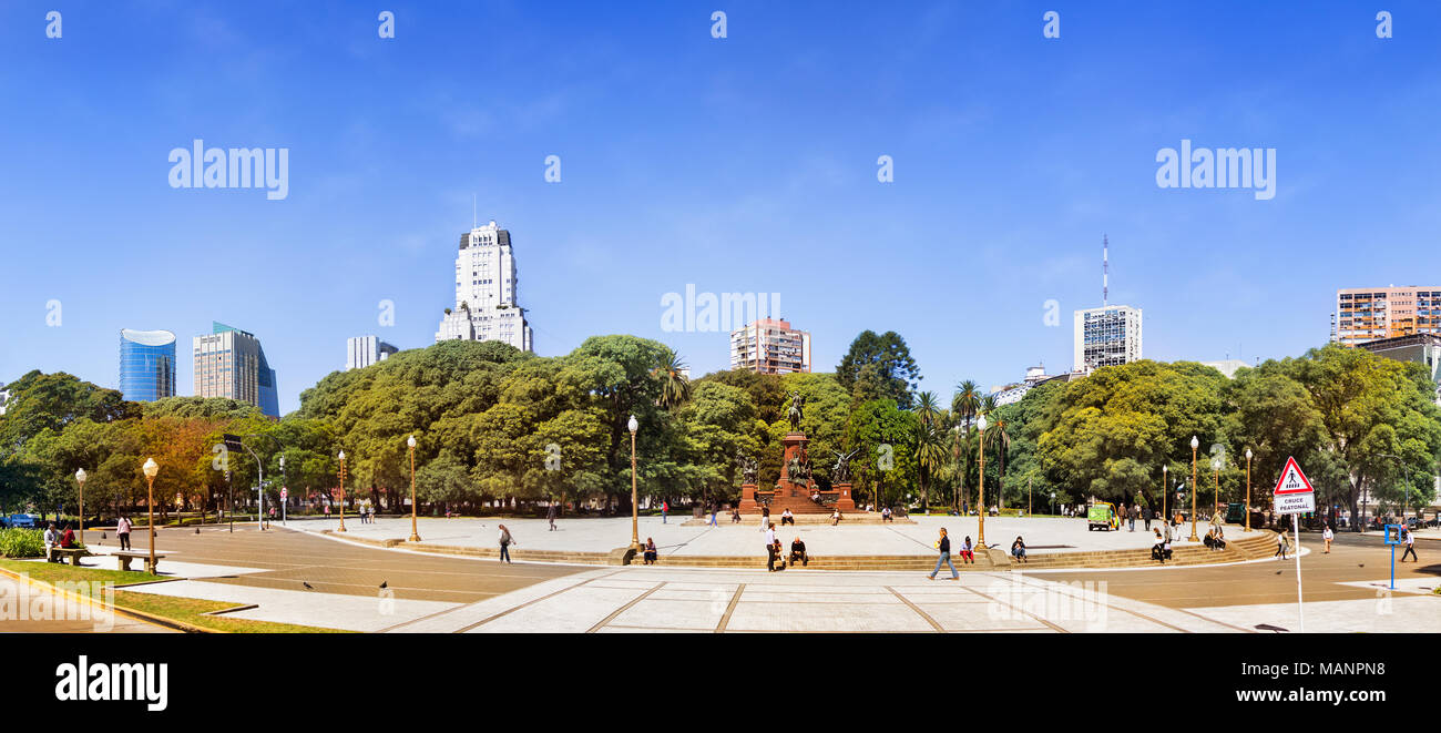 Buenos Aires, Argentina - March 21th, 2018: Panoramic view of the Plaza San Martin with the Kavanagh building in the background, located in the Retiro - Stock Image