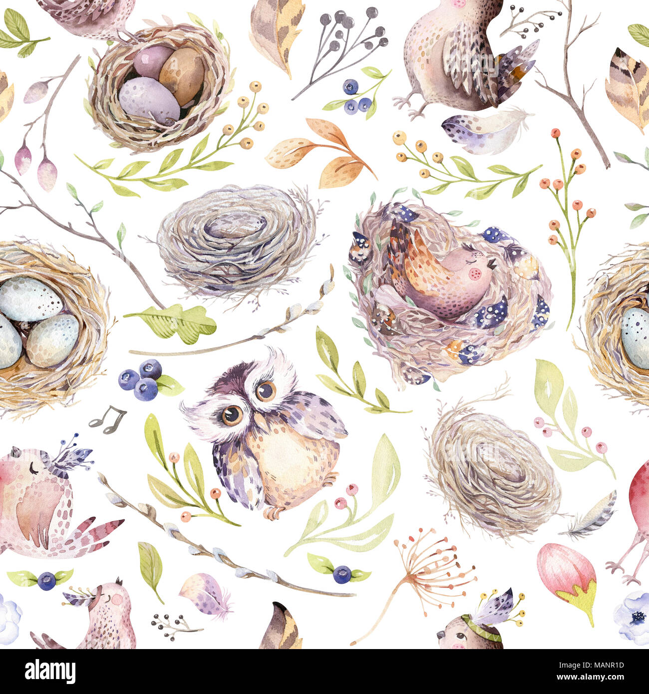 Watercolor Spring Rustic Pattern With Nest Birds Branchtree Twigs And Feather Watercolour Seamless Hand Drawn Bird Background Vintage
