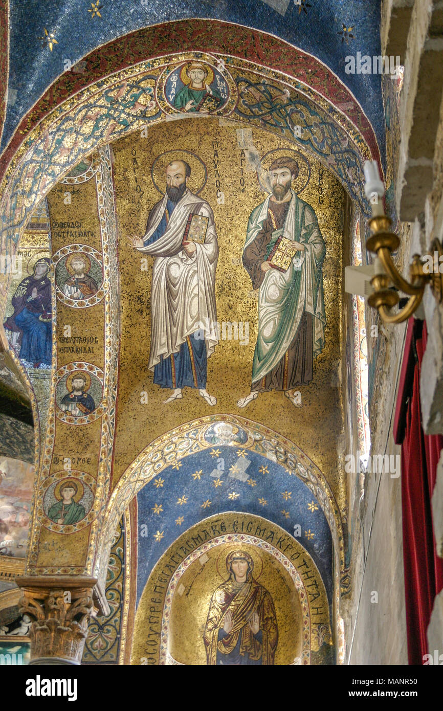 The Golden Mosaics of Monreale Cathedral in Palermo, Sicily, Italy.  The Byzantine mosaics were made with approximately Stock Photo