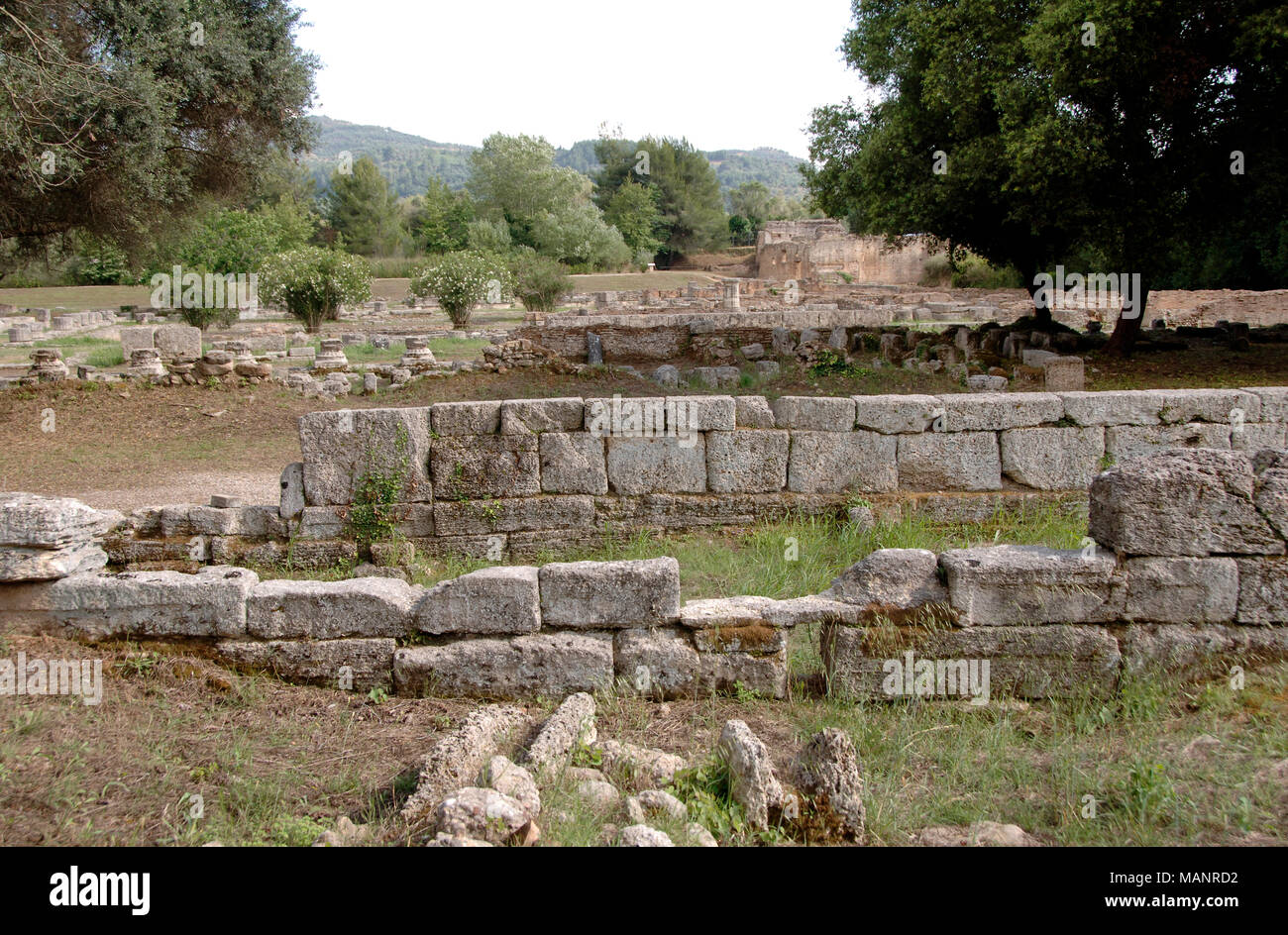 Greece, Olympia. The Leonidaion. Lodging place for athletes taking part in Olympic games. Southwest of the sanctuary, ca. 330 BC. Designed by Leonidas of Naxos. Ruins. Peloponnese. - Stock Image