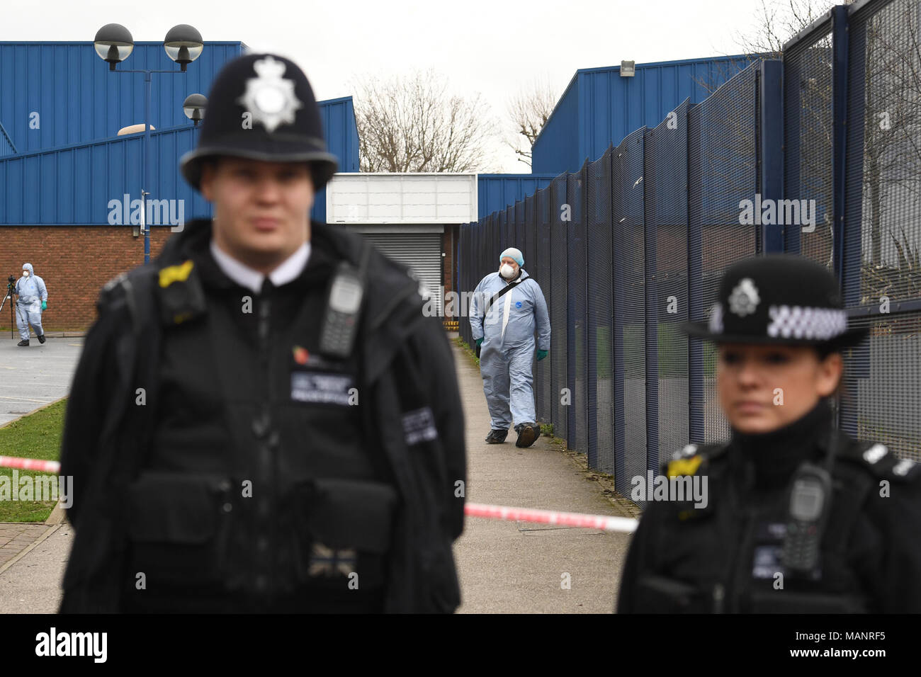Police And Forensic Officers Attend The Scene Where A 16 Year Old Boy Was Shot On Monday Evening And Left In A Critical Condition In Markhouse Road In Walthamstow East London Stock Photo
